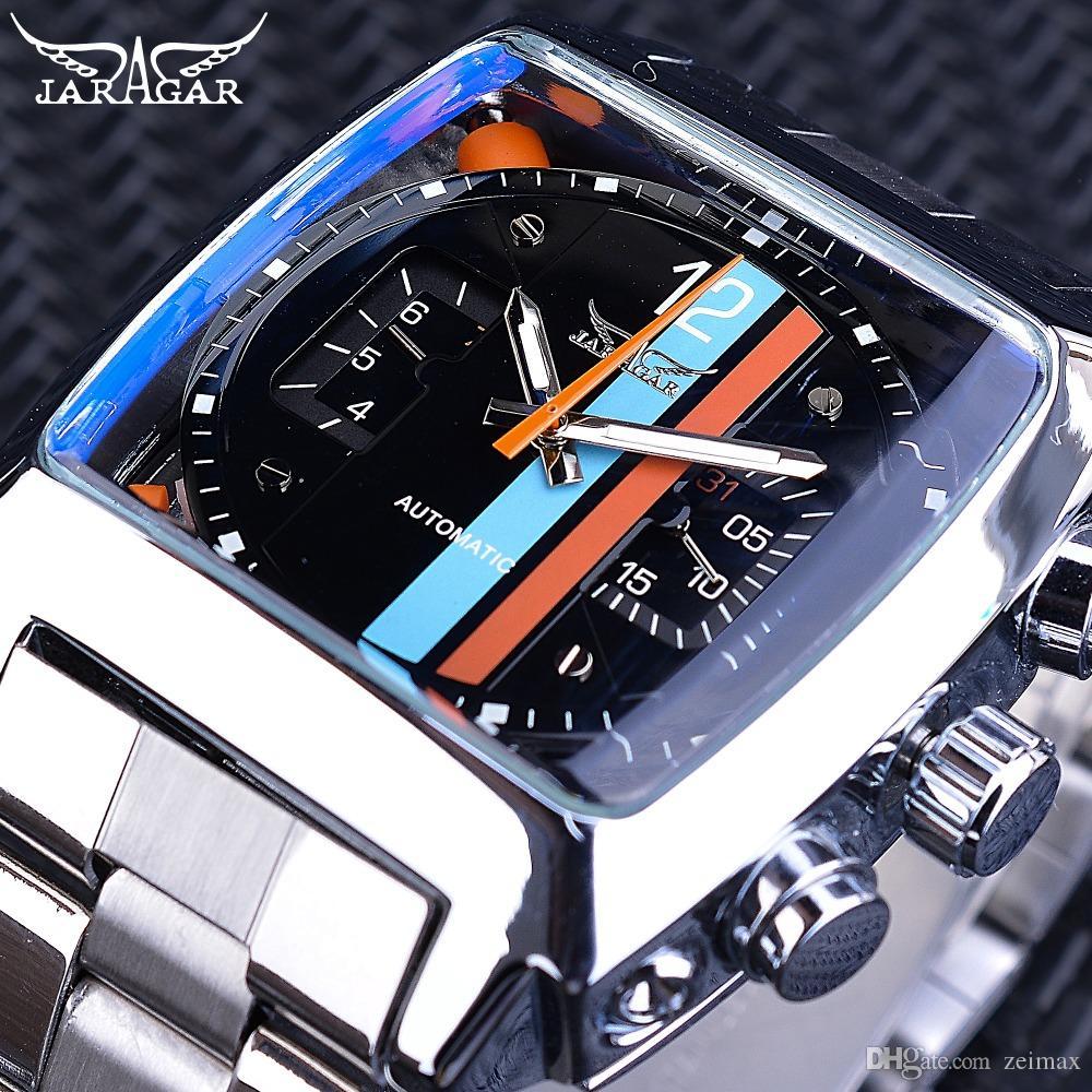 f746edb6f708c Acheter Jaragar Watch Navigator Série Mode Unique Affichage Carré Étanche  Hommes Montres Automatique Haut Marque De Luxe Lumineux Mains De $22.34 Du  Zeimax ...