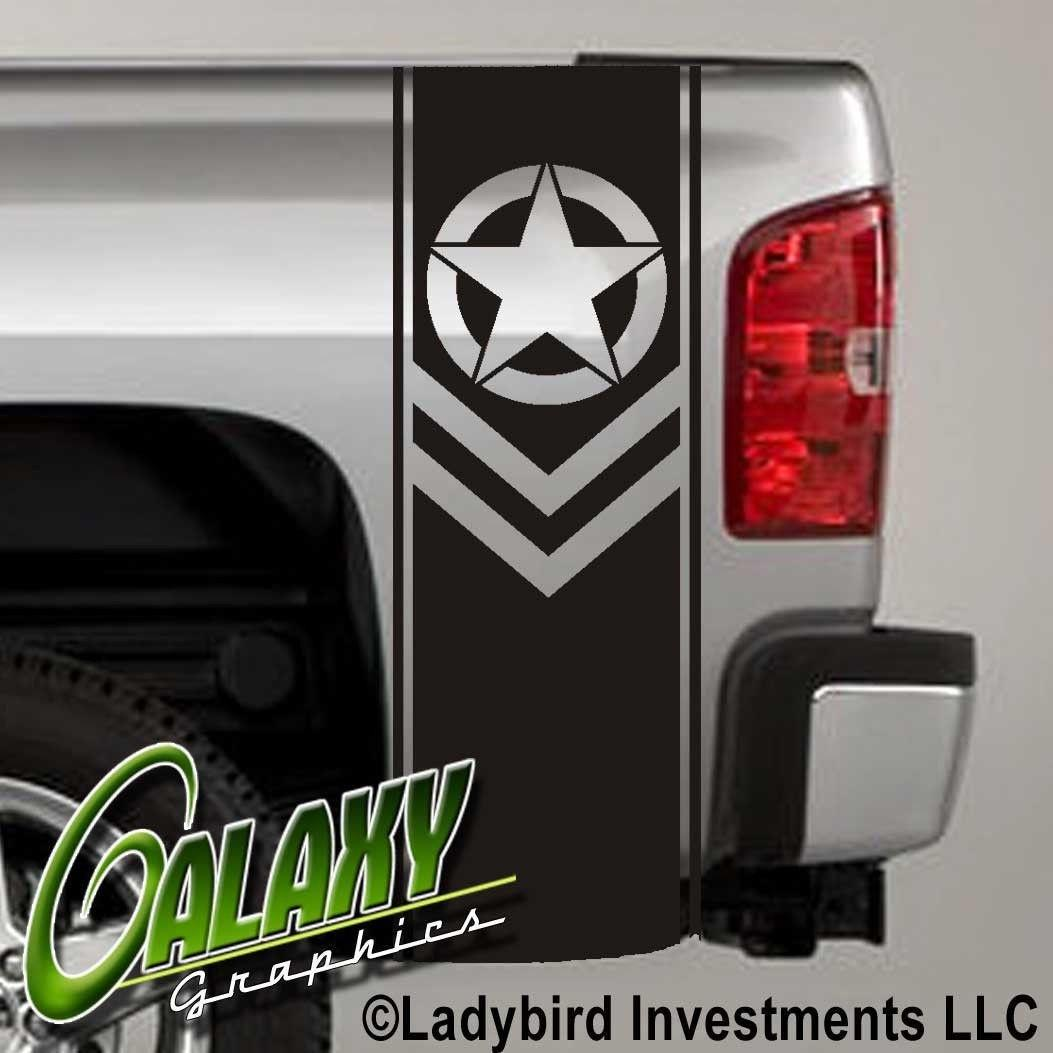 For Universal 1Set/2Pcs Army Star Chevron Military Truck Bed Decal x2 - Ram Chevy Ford - (#1)