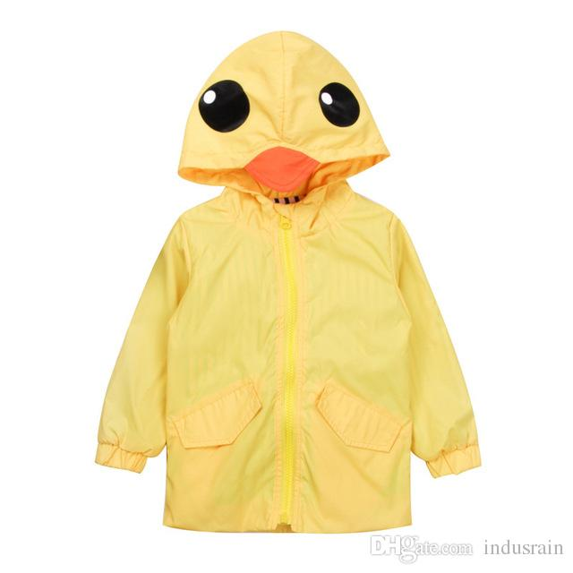 df235d0d8421 Children Kids Baby Boy Girl Clothing Long Sleeve Yellow Duck Hooded ...