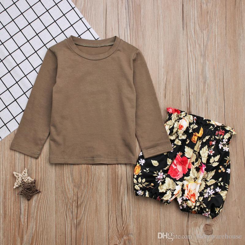 Ropa para niñas 2018 Nueva primavera verano ropa para niños Conjunto de manga larga T-shirt Tops + Pantalones cortos florales Pantalones 2 UNIDS Trajes de niñas conjunto Ropa 2-7T