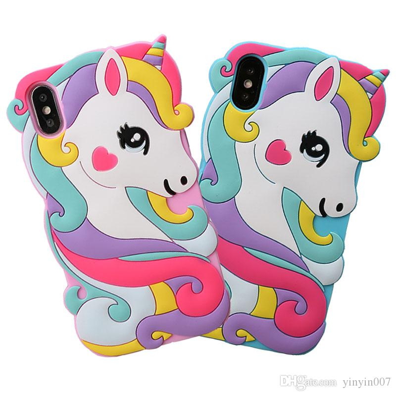 For iPhone 8 7 6 Plus XS Max XR SE New 3D Unicorn Cartoon Animals Soft Rubber Silicone Shockproof Drop Protection Kawaii Bumper Case Cover
