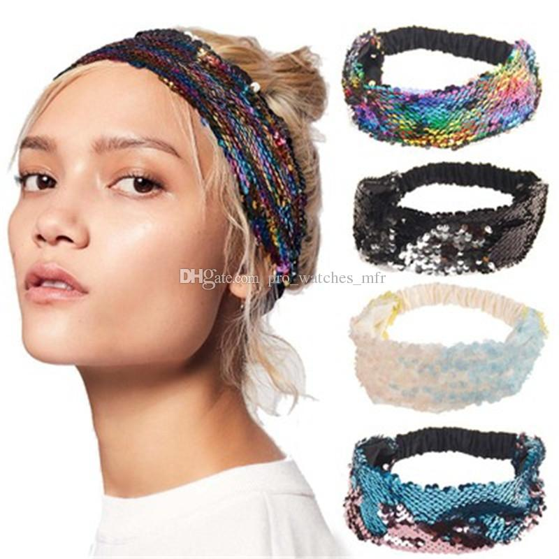 2c7132014ec5b Shiny Two Sided Sequins Headband Vintage Handmade Braided Hairband Wide  Elastic Headband For Women Hair Accessories P0106 Headbands Girls Little  Girl ...