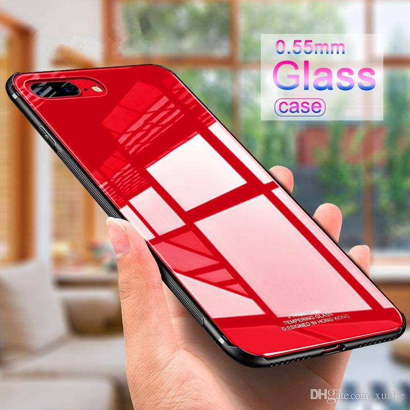 2018 Newest Luxury Gloss Glass Case For iphone x 8 7 6s Plus Tempered Glass Phone Cover with Soft Silicone Bumper for samsung