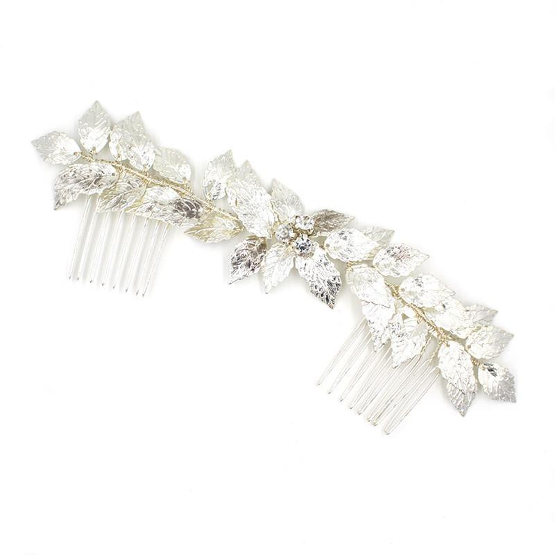CC hair comb hairpins luxury handmade leaf double row wedding hair accessories for women bridesmaids engagement jewelry O845