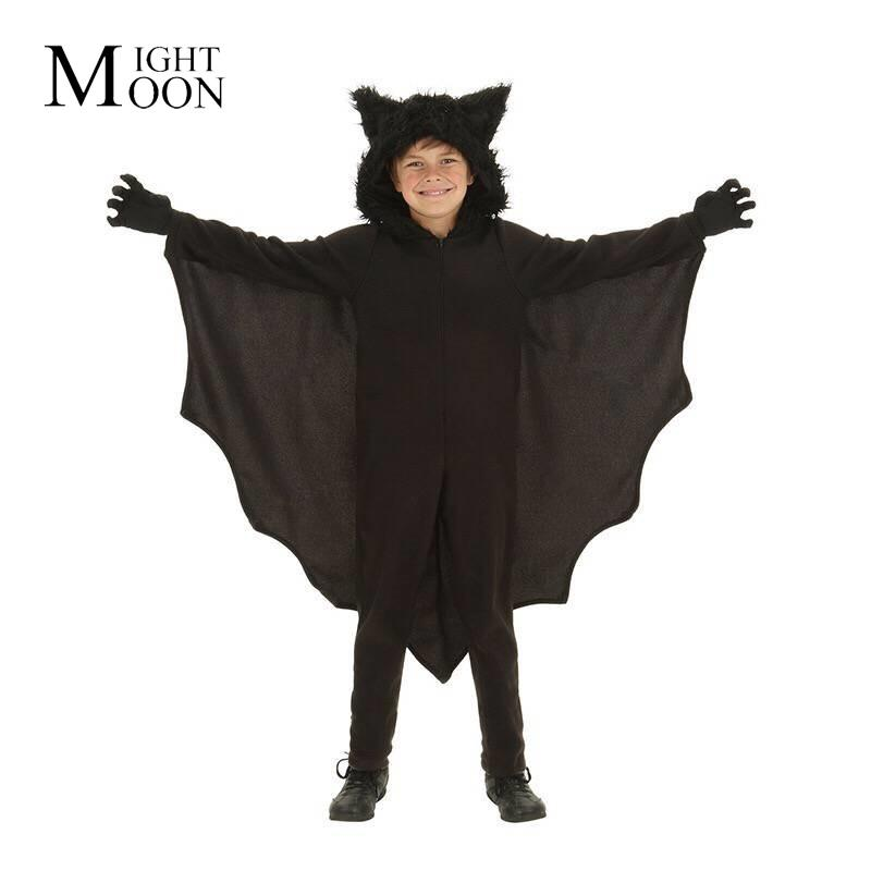 MOONIGHT Child Animal Cosplay Cute Bat Costume Kids Halloween Costumes for Girls Black Jumpsuit Connect Wings Bat Clothes