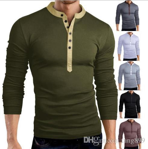 f133a4b66 2018 Hot Men'S Casual T Shirt Solid Color Fashion Large V Neck Long Sleeved  Slim T Shirt Bottoming Shirt Six Color Day Shirt Tee T From Tang899, ...