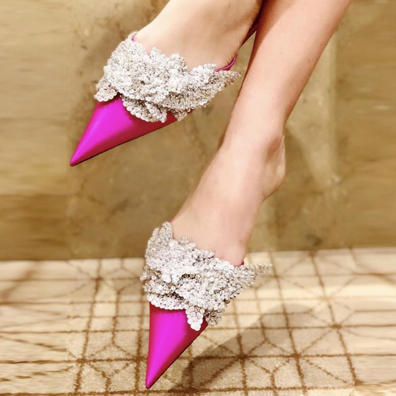 2018 Popular Designer Flat Slides Bling-bling Sequined Pointed Toe Satin Slippers Formal Dress Shoes