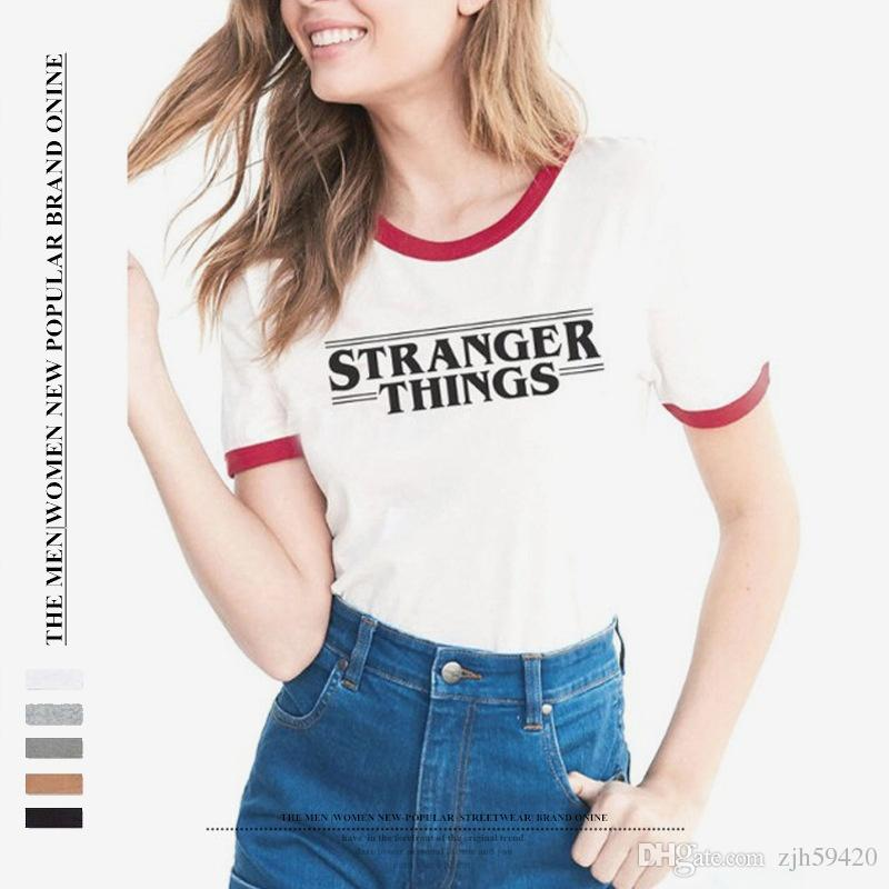 5ec9d642703 New STRANGER THINGS Letter Print Short Sleeve Summer Fashion Sport Woman T  Tee Shirt Summer Tops