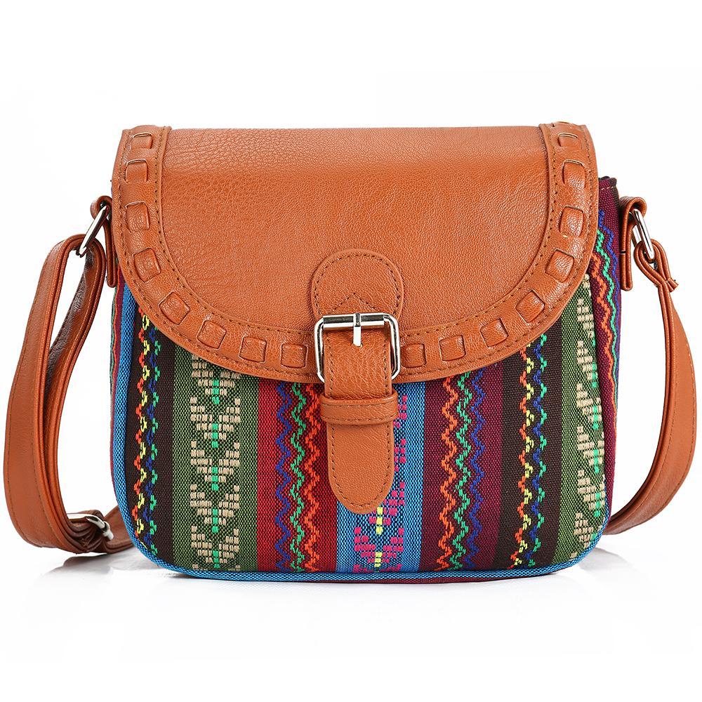 8e2d80f917e3 2017 Vintage Fabric Boho Aztec Tribal Female Handbag Women Crossbody Bag  Ladies Shoulder Bag With PU Leather Messenger Bag Black Leather Handbags  Small ...