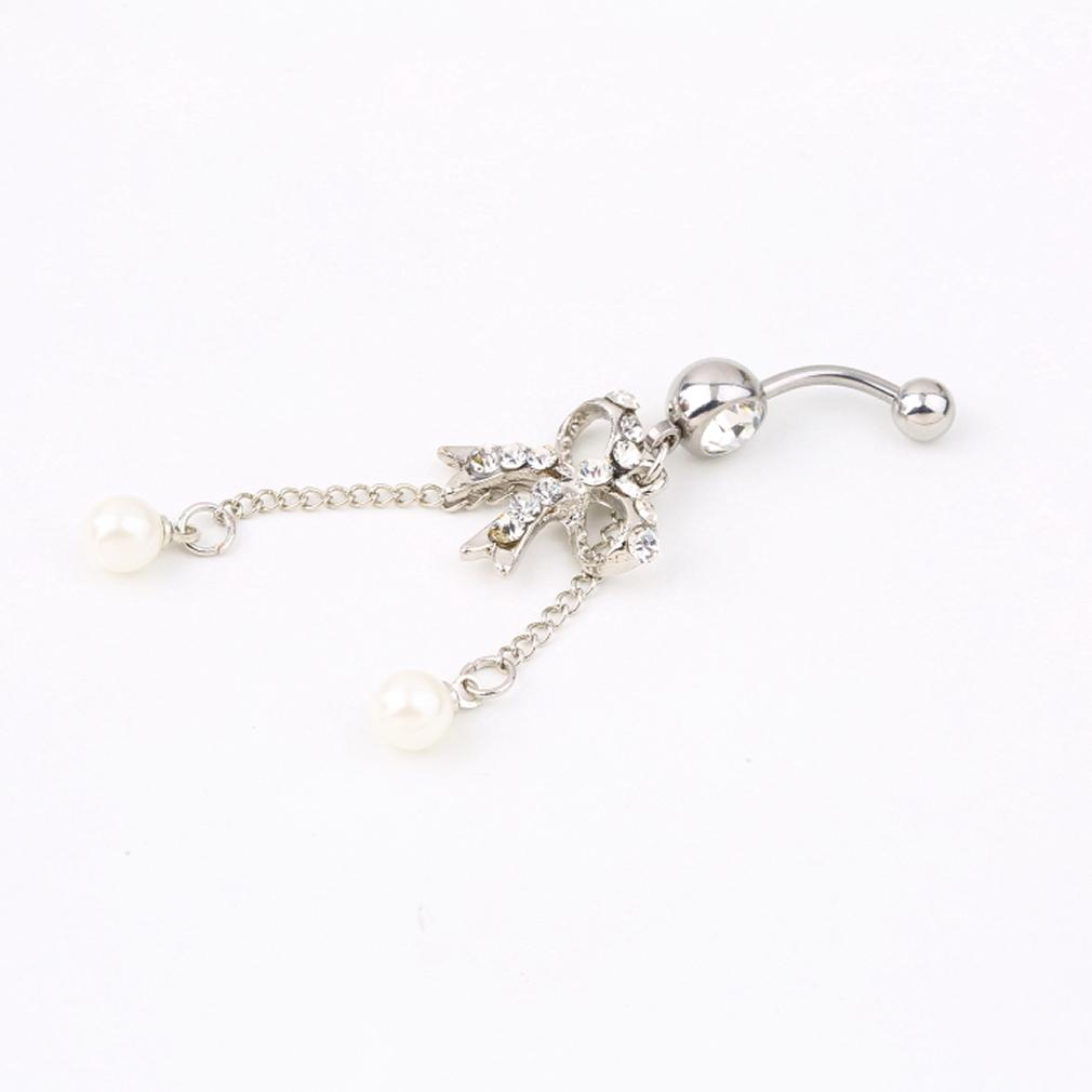 GENBOLI Rhinestone Butterfly Bow Dangle Navel Belly Bar Button Ring Body Piercing Ring New Hot Selling