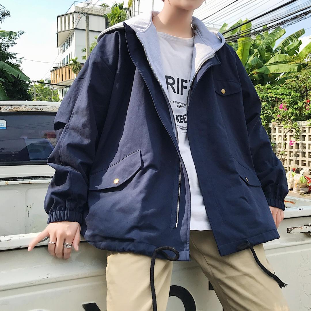 2018 Autumn New Korean Men Fashion Casual Loose Fake Two Pieces