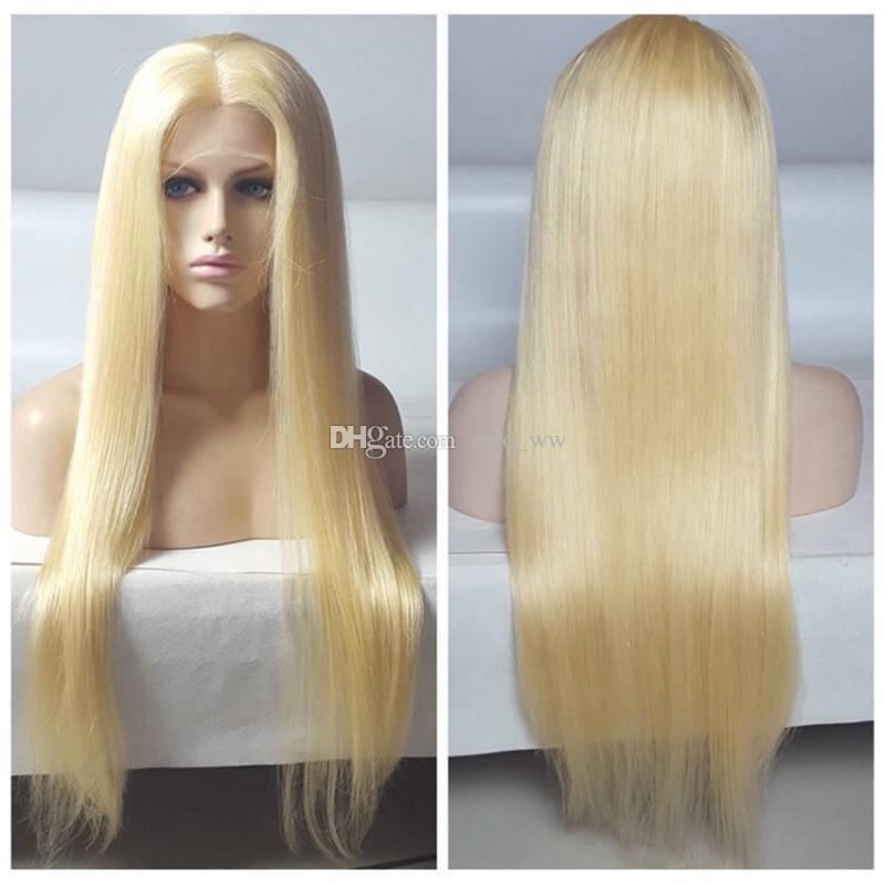 Pelucas de cabello humano rubio con frente de encaje de Malasia Pelucas rectas llenas de Siky Pelucas rectas # 613 Pelucas sedosas de miel sin pegamento con cabello de bebé