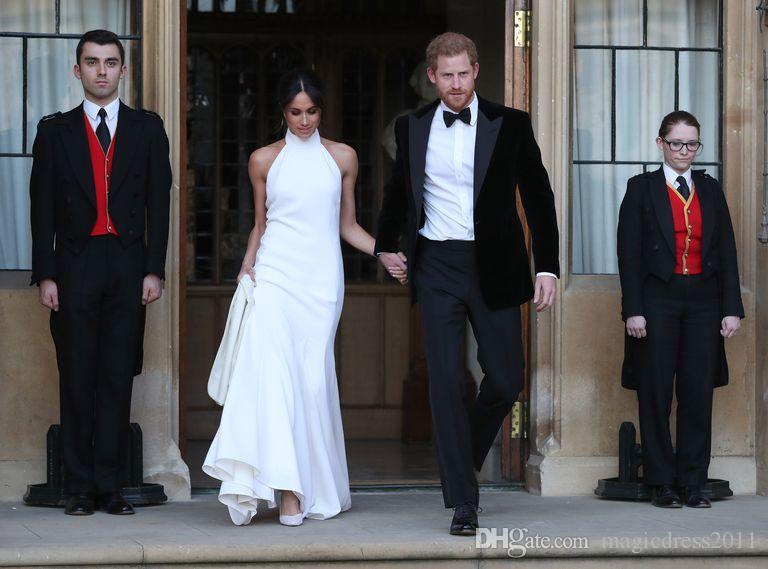2018 Elegant White Mermaid Wedding Dresses Prince Harry Meghan Markle Wedding party Gowns Halter Soft Satin Wedding Recept Dress