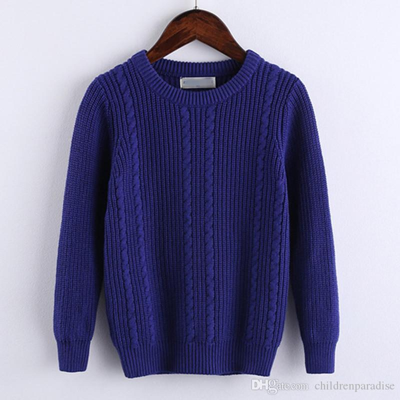 85f4f185143a 4 TO 10T Kids Boys Fall Winter Cable Knit Solid Blue Beige Casual Pullover  Knitted Sweater Children Fashion Rib Knit Sweaters Knitted Baby Sweater  Patterns ...