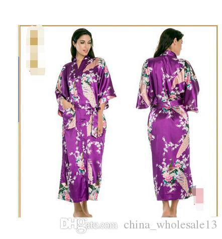 7ff27263d5 ... dressing new  Satin Robes for Brides Wedding Robe Sleepwear Silk Pijama  Casual Bathrobe Animal Rayon Long Nightgown Women  Amazon.com ...