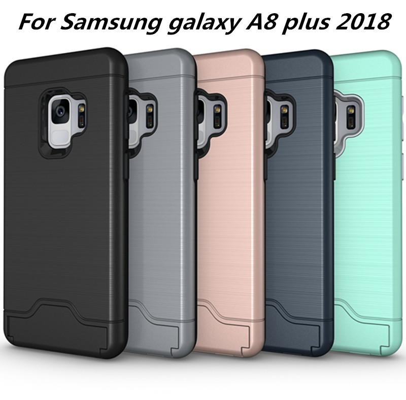 timeless design 225a5 c92fe Card Slot Case For samsung galaxy A7 2018 For Samsung galaxy A8 plus 2018  Armor case hard shell back cover with kickstand C