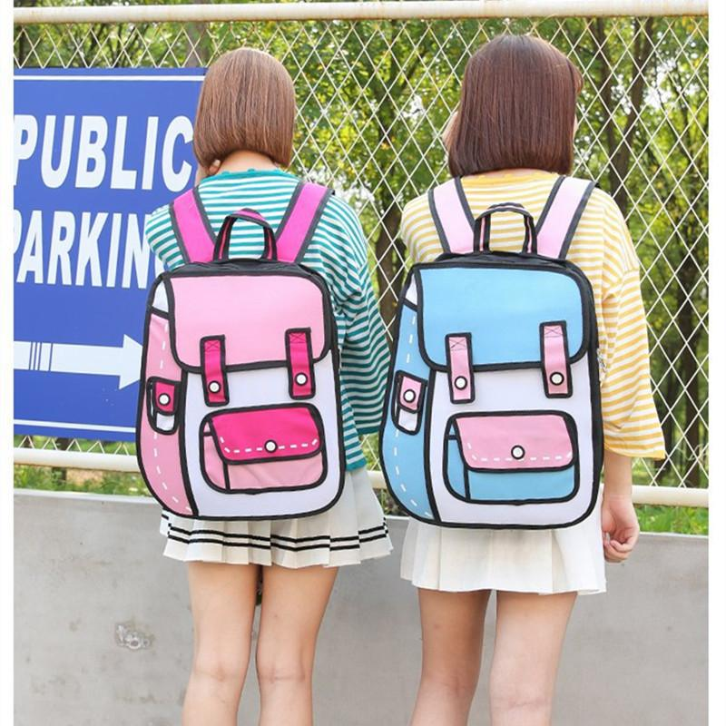 c022b2d45746 Flyone New 3D Jump Style 2D Drawing Cartoon Paper Bag Comic Backpack  Fashion Cute Student Bags Bolos 6Colors 2017