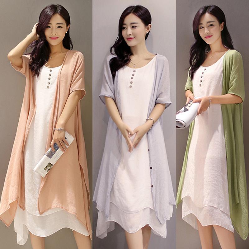 2018 Women Suits Casual Clothing Sets Cotton Linen Dress Blouse