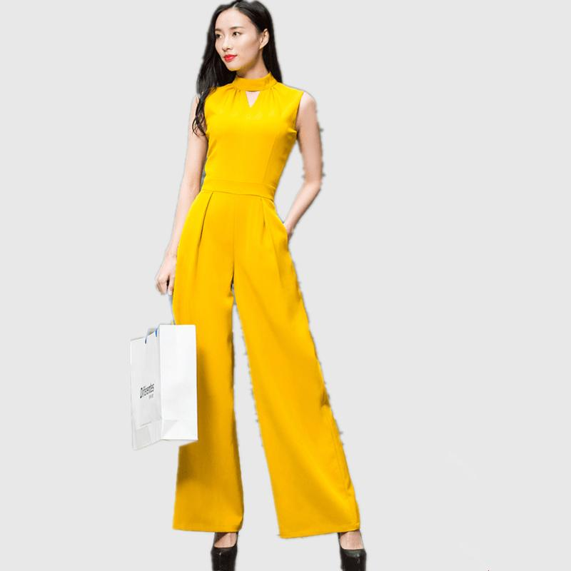 f9f8e2d32374 2019 DF Summer Women Jumpsuit Romper 2018 Fashion Lady Sleeveless Solid  Color Yellow Full Length Overalls M XXXL From Volontiers