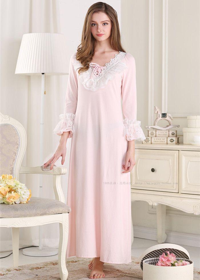 2018 2015 New Pijamas Frincess Style Nightdress Women\'S Pink Cotton ...