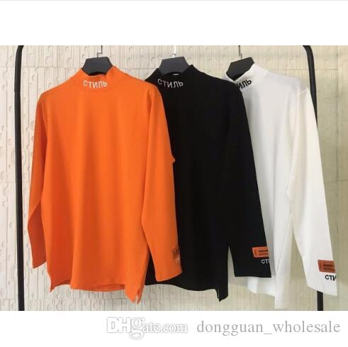 2019 HERON PRESTON Ricamo Donna Uomo Dolcevita T-shirt a manica lunga Tees Hiphop Streetwear Uomo T-shirt in cotone HP Brand