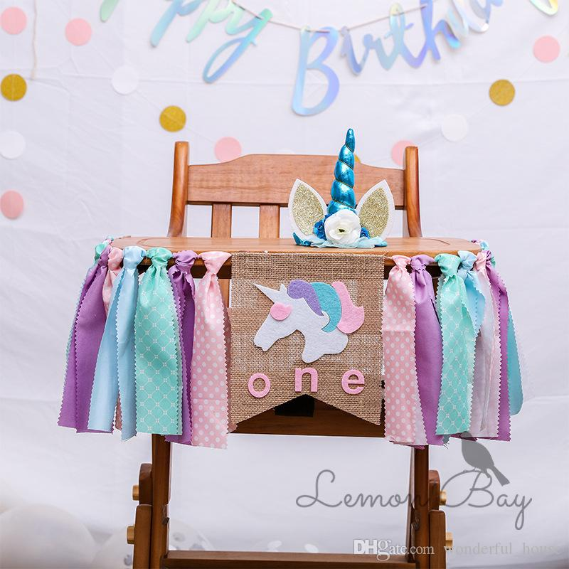 2019 Unicorn Babys Chair Decorations Flag Baby Birthday Crown Christmas Decoration Table Banner Party From
