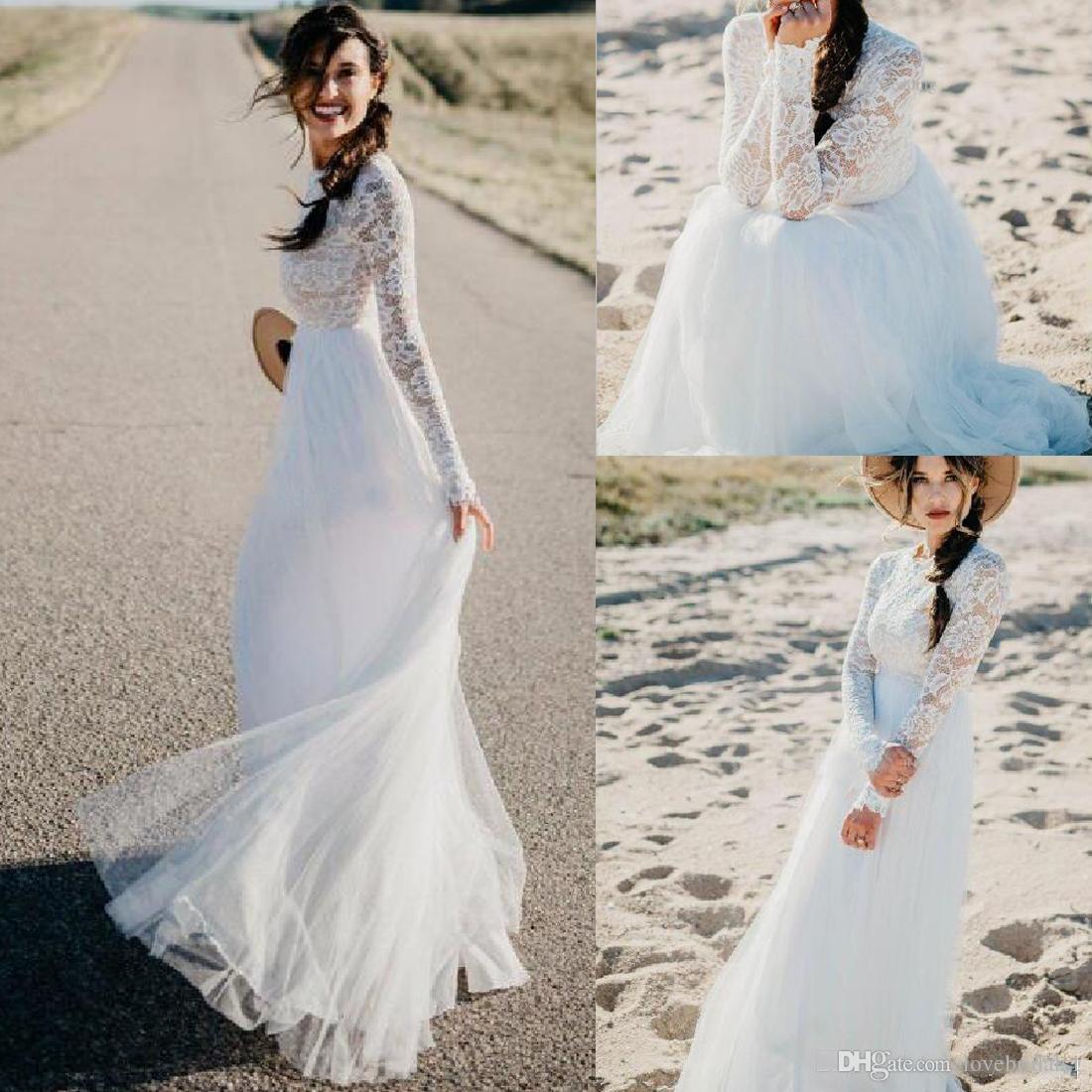 official photos 43297 40aa2 Einfache 2019 langen Ärmeln Strand Brautkleider Spitze Tüll bodenlangen  Land Boho Reich Taille Hochzeit Brautkleider eine Linie