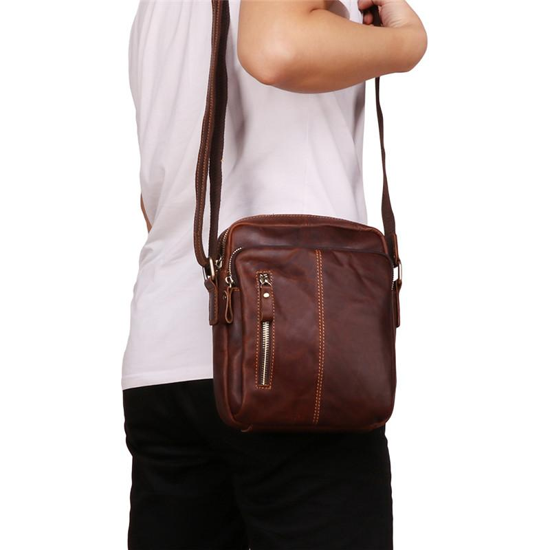 f60b635d75e Nesitu Vintage Brown Coffee Genuine Leather Small Men Messenger Bags Male  Bag for mini ipad Real Skin Men's Shoulder Bag M6421