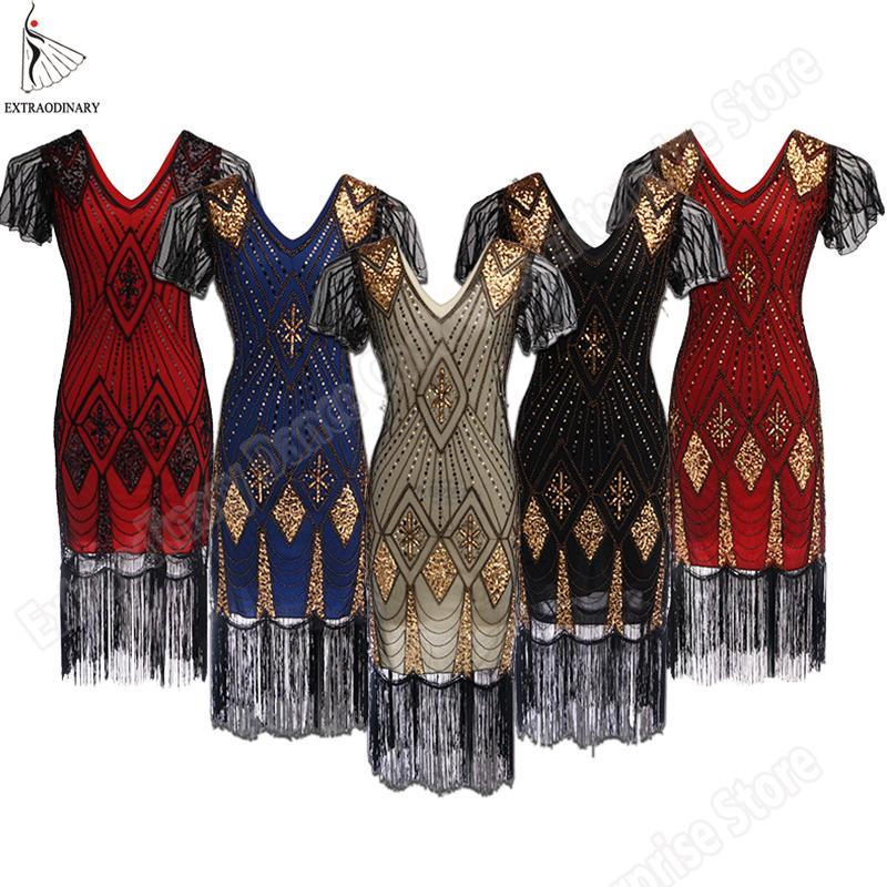 Großhandel Große Gatsby Kleid Frauen 1920 S Vintage Pailletten Art Deco  Double Flapper Kleider Vintage V Ausschnitt Party Kleid Verziert Fransen  Von ... 831d0cb98b