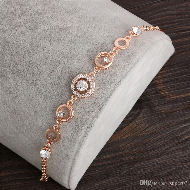 325bf88a6 18K Rose Gold Plated Chain Link Bracelet For Women Ladies Shining AAA Cubic  Zircon Crystal Jewelry Gift Wholesale Price Silver Heart Charm Bracelet  Charm ...