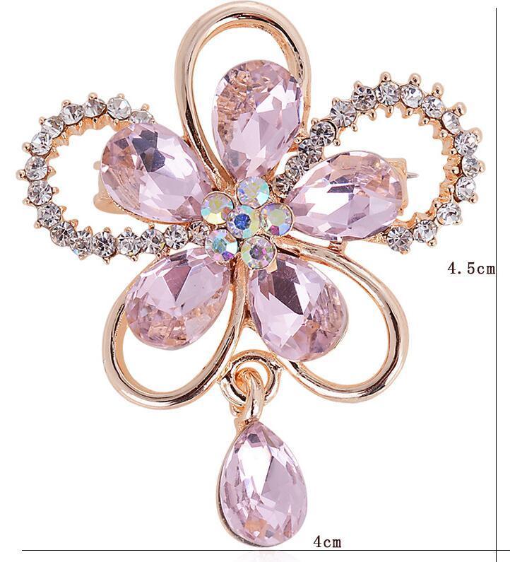 Brand Brooches for Women Crystal Brooch Rhinestone Flower Wedding Accessories Brooch Jewelry Lapel Pin