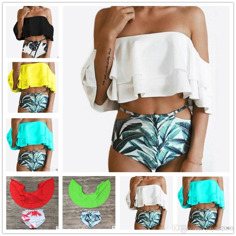 a4f0777455a86 2019 Fashion Women High Waist Bikinis Green Set Push Up Top Swimsuit Shorts  Print Sexy Swimwear Beach Wear Swimsuit Bathing Suits Free Shippin From ...