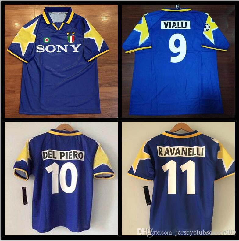 95 96 Italy Team Away Blue Retro Soccer Jersey  10 Del Piero   11 ... 5f4aee0c0