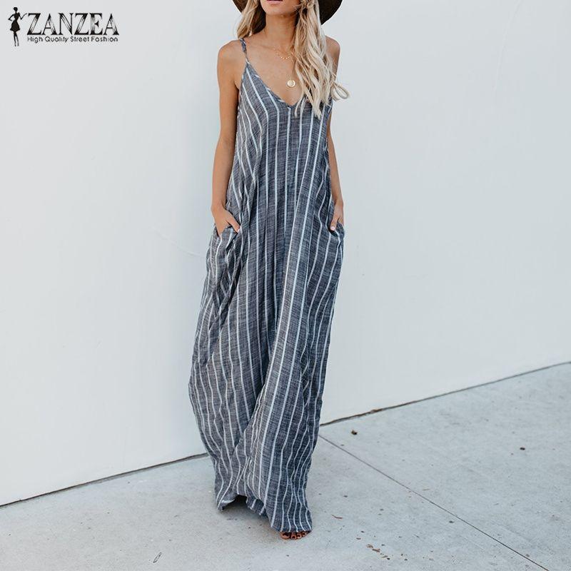 644c63faff01 2018 ZANZEA Summer Striped Dress Women Sexy V Neck Strappy Loose Cotton  Linen Maxi Long Dress Casual Baggy Party Beach Vestido Green Junior Dresses  Black ...