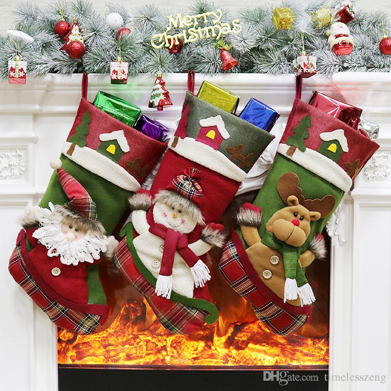 2018 Christmas Stockings Socks Santa Claus Candy Bags Snowman Elk Large Gift Bag Xmas Tree Hanging Ornament Christmas Decoration