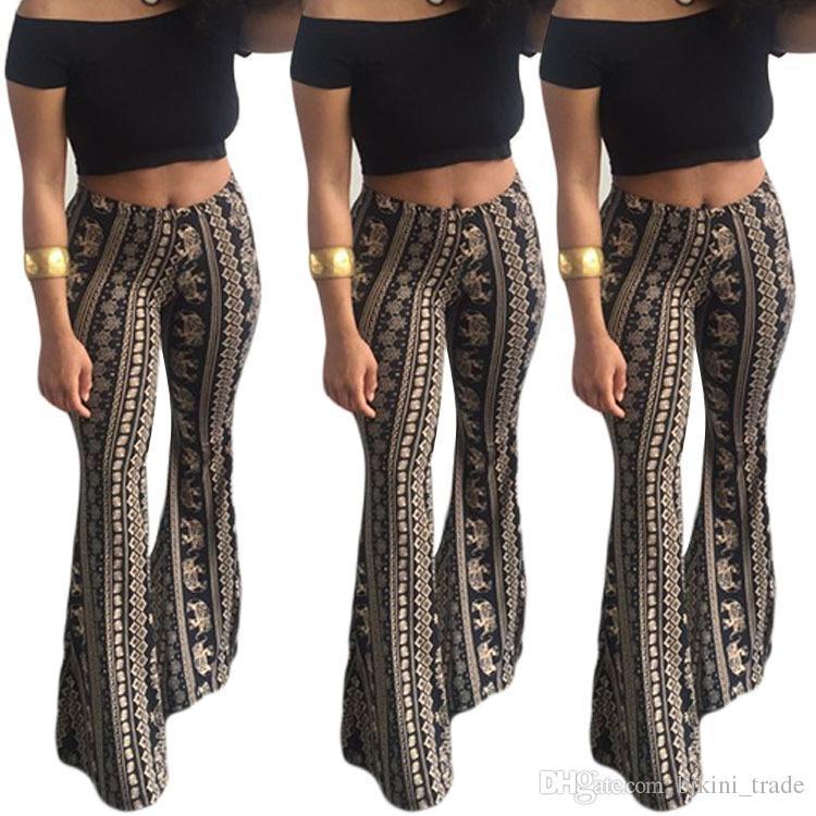 b8f5ce415b 2018 Boho Flare Pants Moda Donna Pantaloni lunghi larghi Stampa pantaloni  ampi Pantaloni Leggings con fondo a campana Pantaloni Hippie Hottest