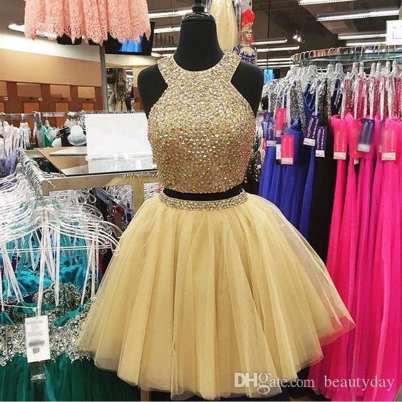 Short Homecoming Dresses Two Pieces Halter Sequins Beads Skirt Cocktail Party Dress Sparkly Arabic Mini Prom Gowns Graduation Dress