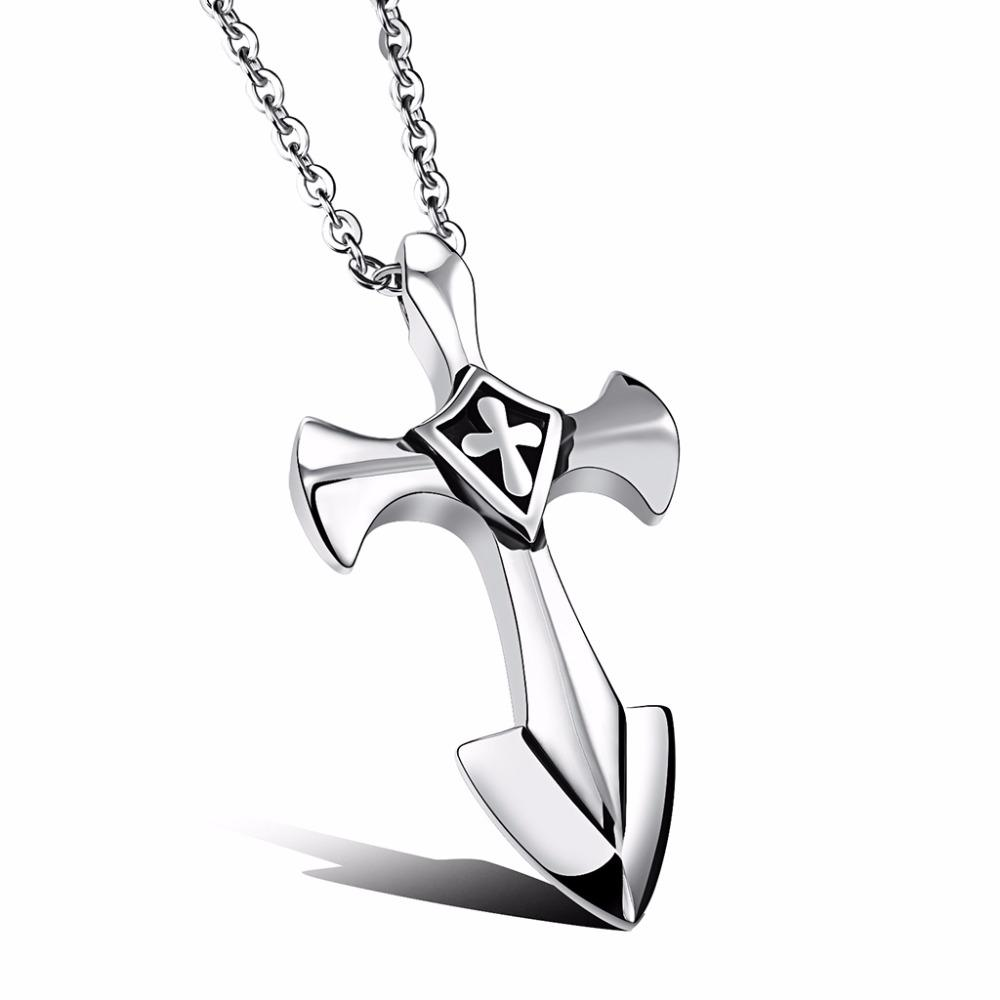 35f201aeb42 2019 Novelty Sword Pendant Necklace For Men Women Stainless Steel Hip Hop  Male Jewelry Silver Cross Pendant From Georgen