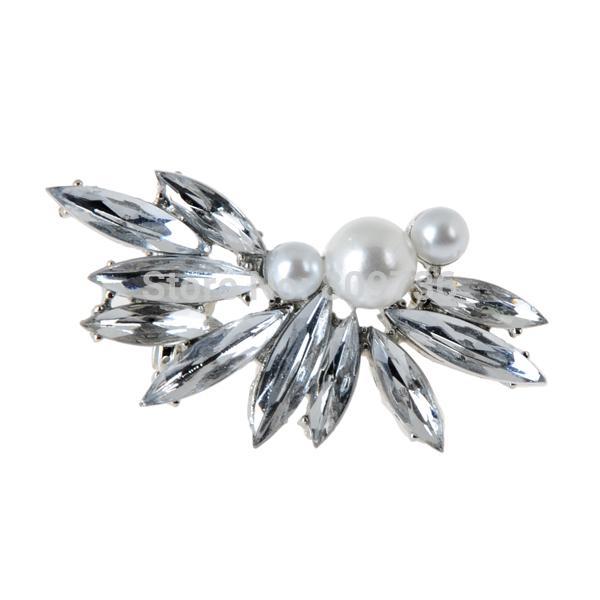 Punk Silver Spike Chic Pearl Crystal Leaf Flower Ear Cuff Wrap Clip Earrings Women Wedding Party Jewelry Gift Drop Free