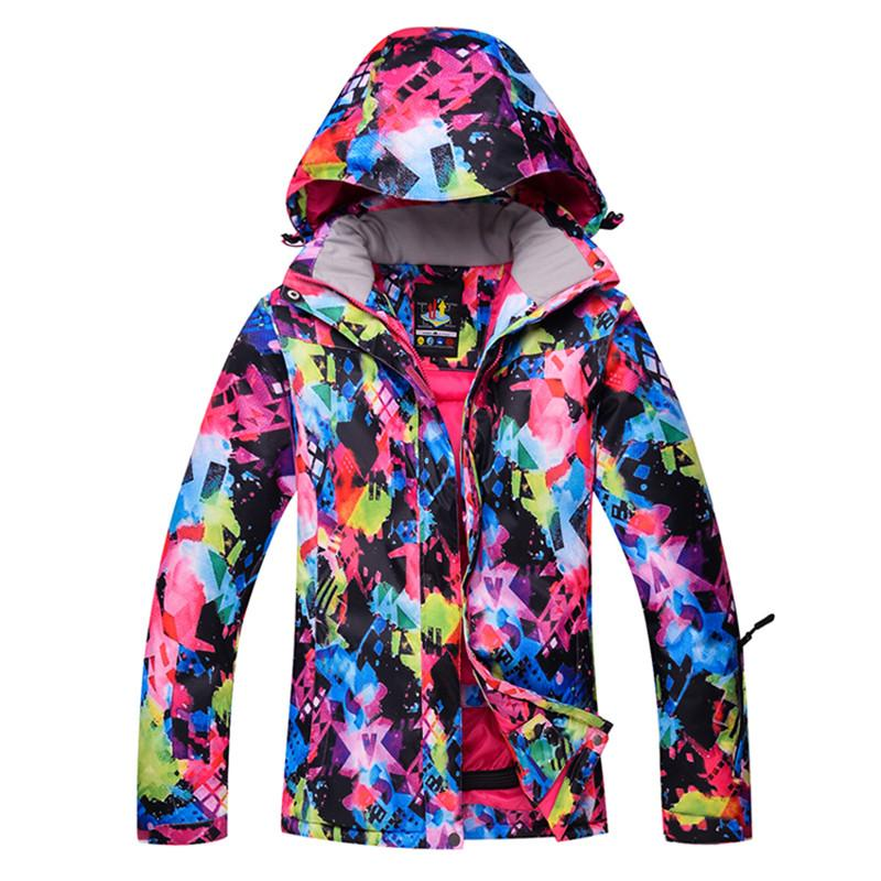 07b2f127b6 Colorful Winter Ski Jacket For Women Waterproof Windproof Snowboard ...
