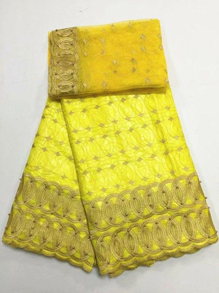 5Y Schöne Zitrone grün afrikanischer Bazin Brokat Spitze Stoff und 2J französisch Netto-Spitzenstickerei mit Perlen für Kleid BZ1-1