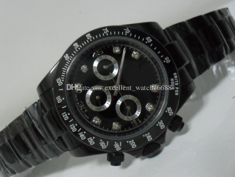De Relojes Mecánico 40 Diamante Lujo Dial Asia Mm Negro 2813 Marca Excelente Hombre 116520 Automático Reloj Para Caso Pvd GqSzUMpV