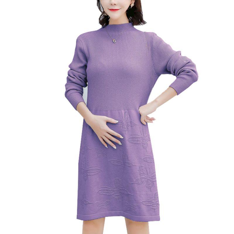 2018 Autumn Winter Sweater Dress Plus Size Knit Dresses For Pregnant