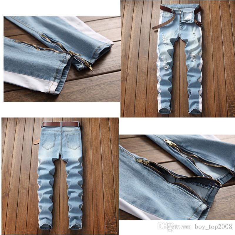 f0db11ab8 La versión coreana AAA de los pies pequeños con cremallera, tendencia de  calle, tendencia a la altura de las rodillas, agujero lavado Slim ...