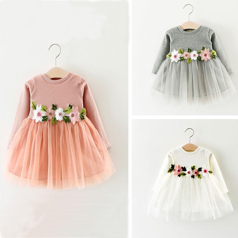 773bf6b5de 2019 Patchwork Rincess Dress Spring Spring Knitted Dresses Appliqued Flower  Tulle Girls Dresses 17121303 From Smartgrass
