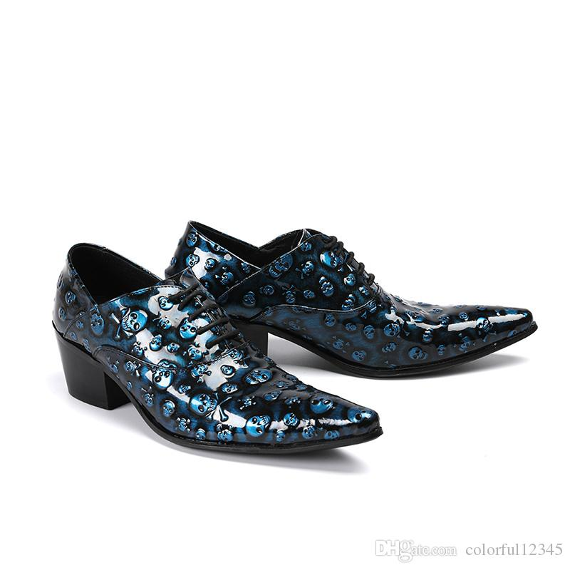 6.5cm Heel Men Shoes Italian Style Luxury Handmade Genuine Leather Shoes Men Pointed Toe Lace-up Blue Skulls Party Dress Shoes