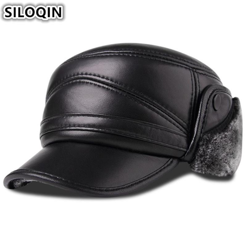 SILOQIN Men s Genuine Leather Hat Winter Plus Velvet Thick Warm Baseball Cap  With Earmuffs Sheepskin Leather Hats For Men New Baseball Caps For Women  Caps ... f491911db2ef