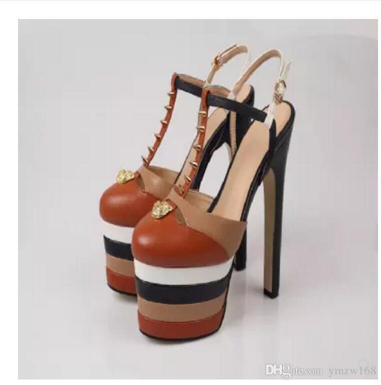 Yeni 2018 sıcak Kalın Alt Platformu Ayakkabı Patchwork Kadın Yaz Sandalet Gladyatör Süper seksi stiletto topuk Moda ayakkabı Ab 34-39