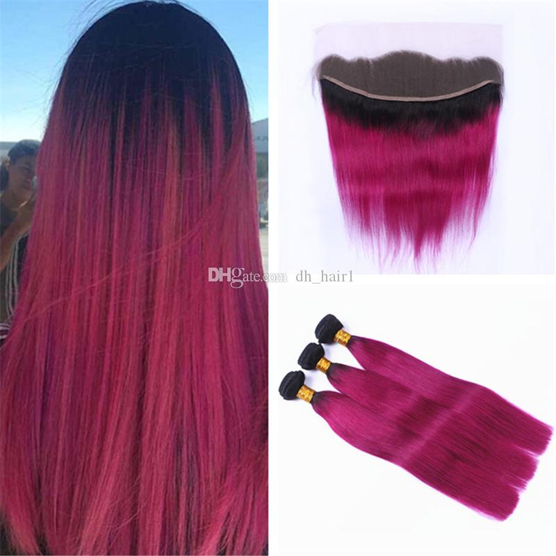 2018 8a Ombre Pink Hair Weaves With Frontal Lace Closure Dark Roots