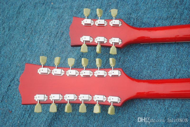 Personalizado 1275 Double Neck canhoto guitarra Double neck 6/12 cordas 12 cordas Guitarra Elétrica em vermelho Frete Grátis